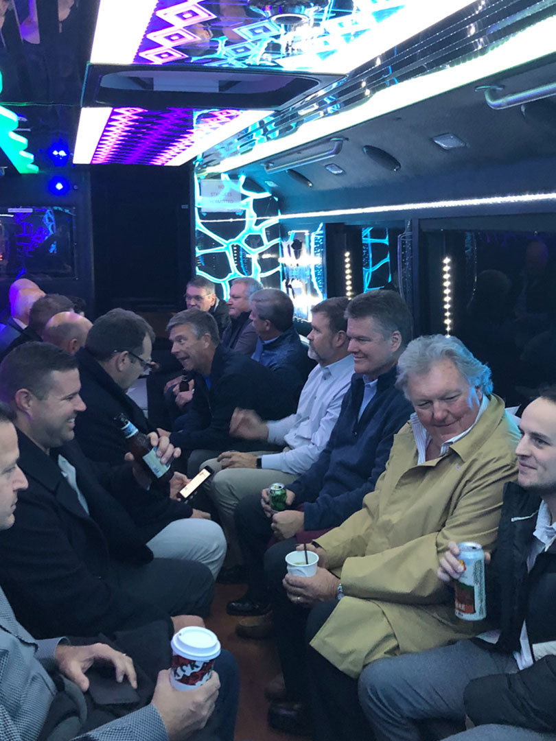 Pregis Fabricators Meeting - jumping on the bus to take a tour and discuss business opportunities.