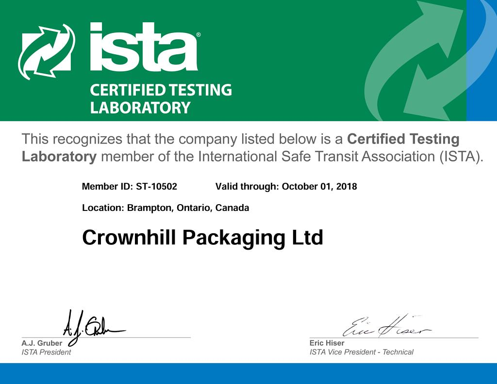 Crownhill Packaging has achieved ISTA Certification