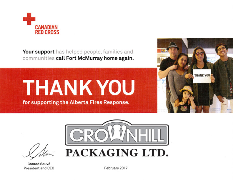 Crownhill Packaging and the Alberta Fires Response