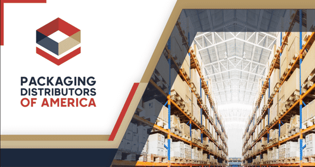A stylized graphic featuring the logo of Packaging Distributors of America and the image of a warehouse.