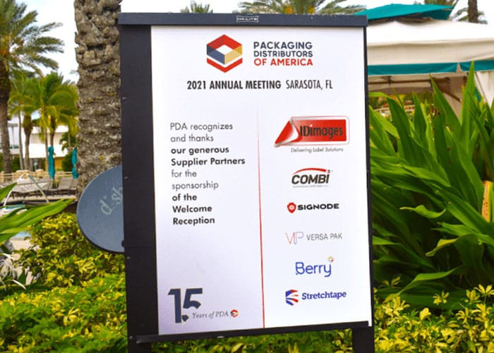 An image of the welcome sign at the welcome reception for the 2021 PDA meeting.