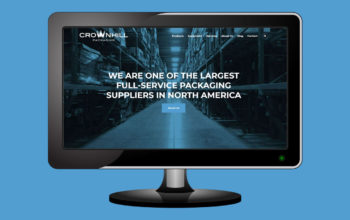 An image of a computer monitor featuring the new website of Crownhill Packaging...